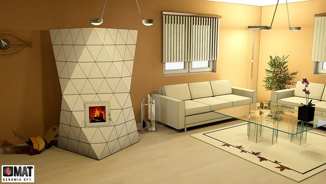 háromszög alakú kályhacsempéből épített cserépkályha